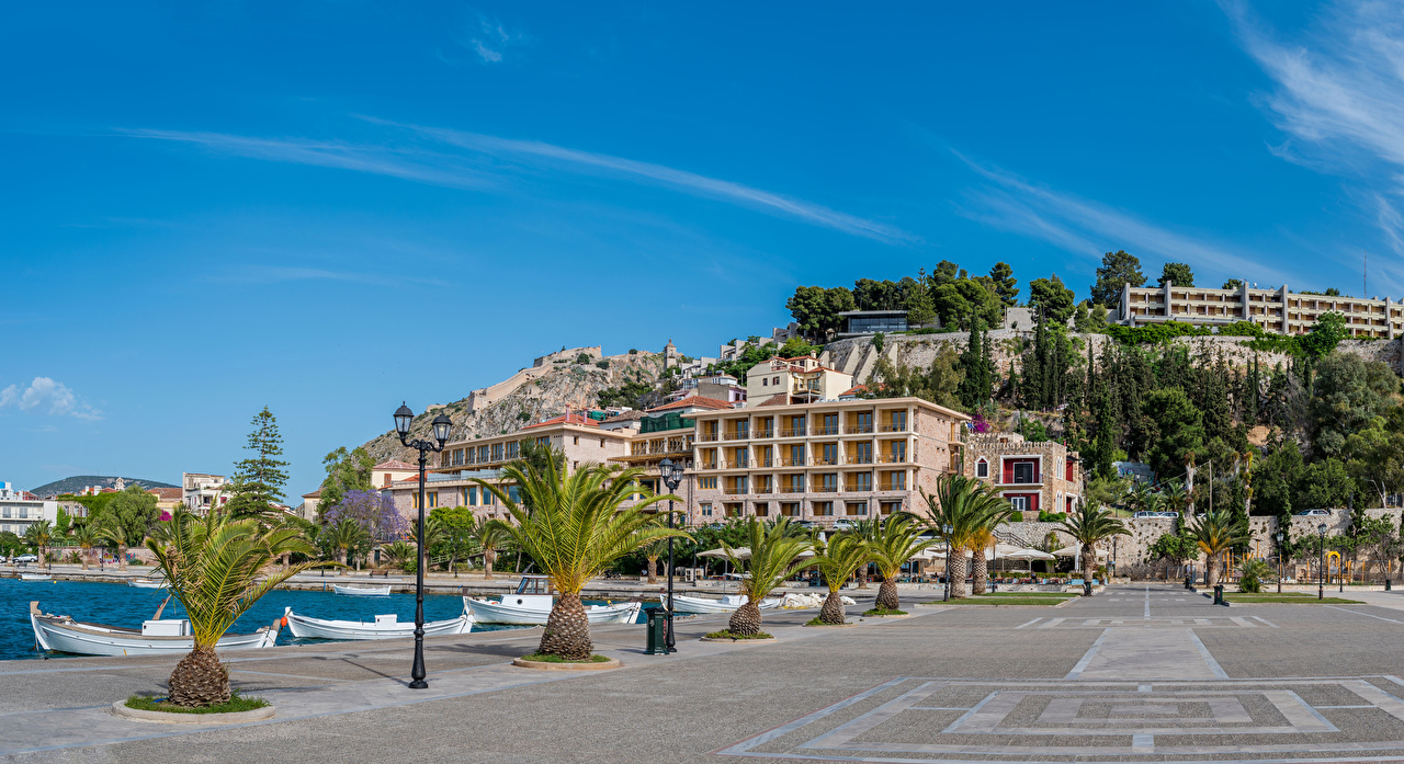 Desktop Wallpapers Greece Acronauplia, Nafplio palm trees Boats Marinas Street lights Houses Cities Palms Pier Berth Building