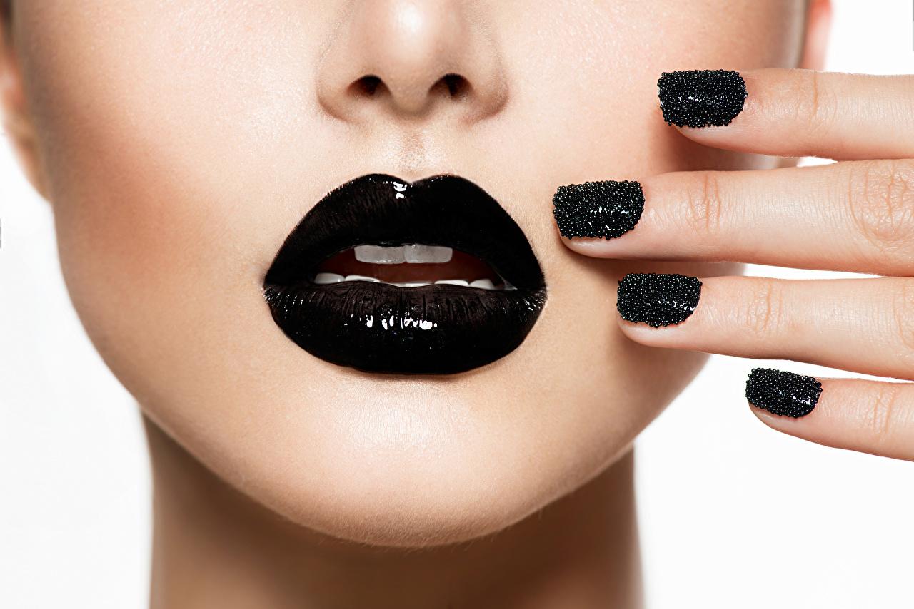 Photos Manicure Makeup Girls Black Lips White background