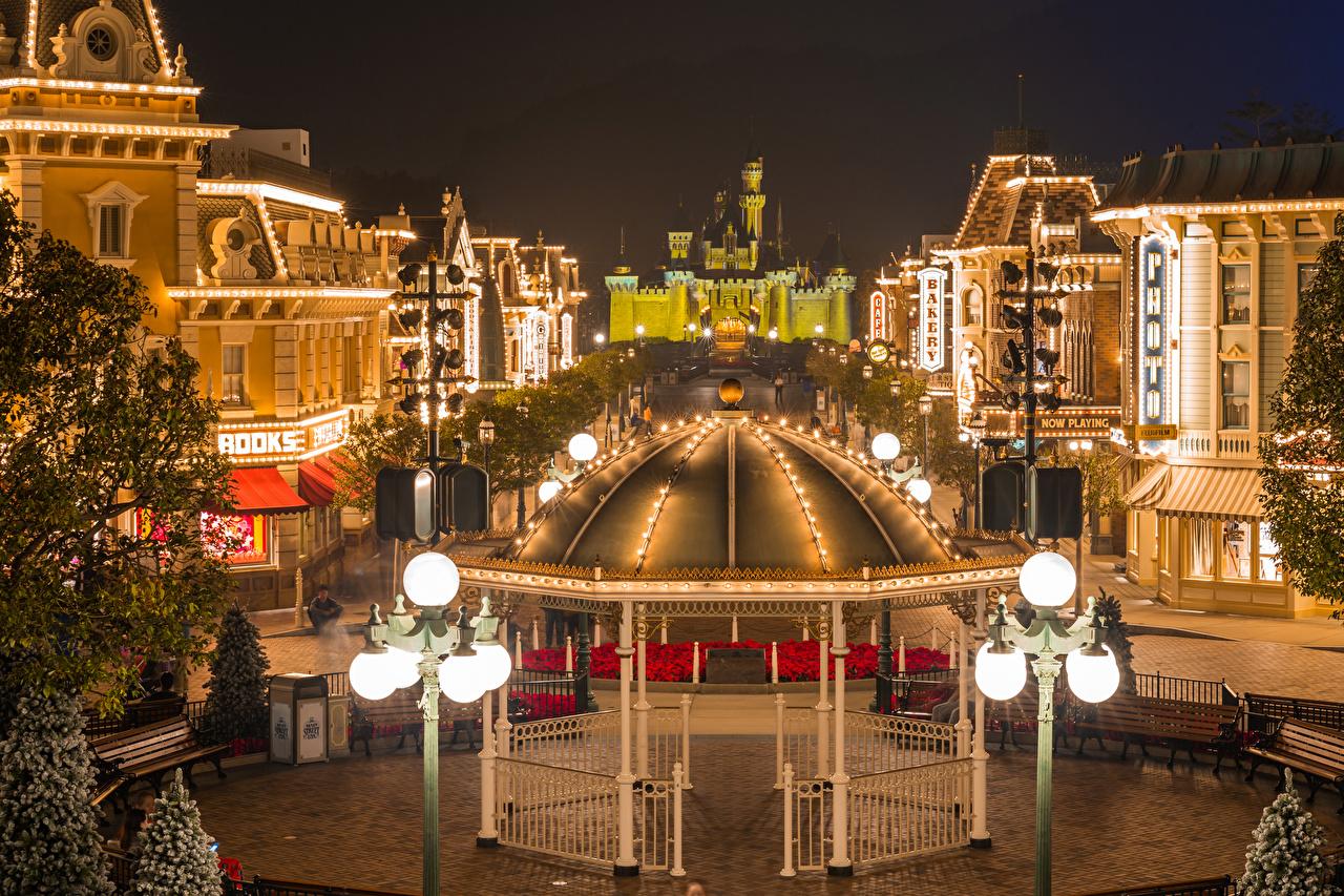 Photo Hong Kong Disneyland China Parks Bench Evening Street lights Houses Cities Design park Building