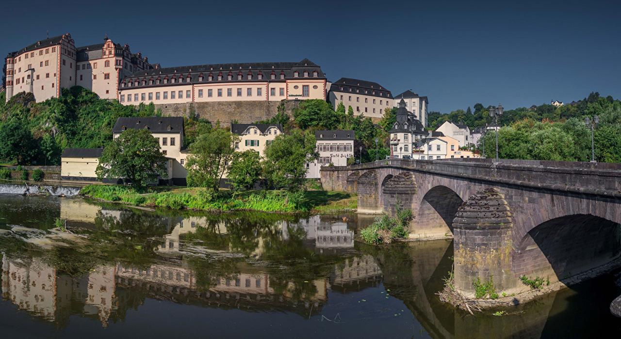 Photo Germany Weilburg, Hessen castle Bridges Rivers Houses Cities bridge Castles river Building