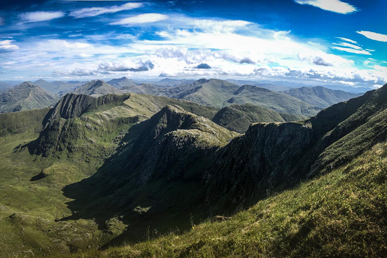 Foto Schotland Knoydart Bergen Natuur Hemelgewelf Bovenaanzicht Wolken berg van bovenaf