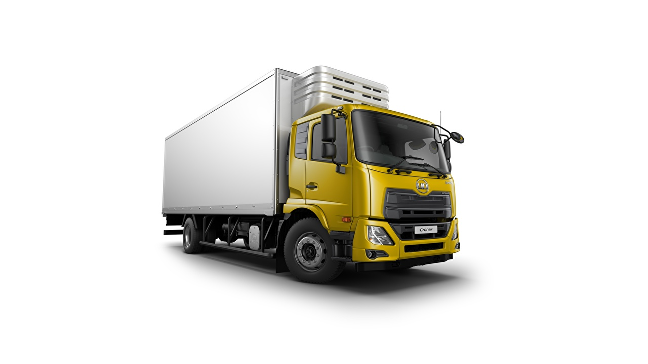 Wallpaper Trucks Japanese UD Trucks, Croner, cooler Yellow Cars White background lorry auto automobile