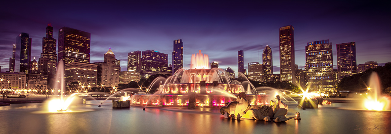 Wallpaper Chicago city USA Fountains Night Skyscrapers Cities night time