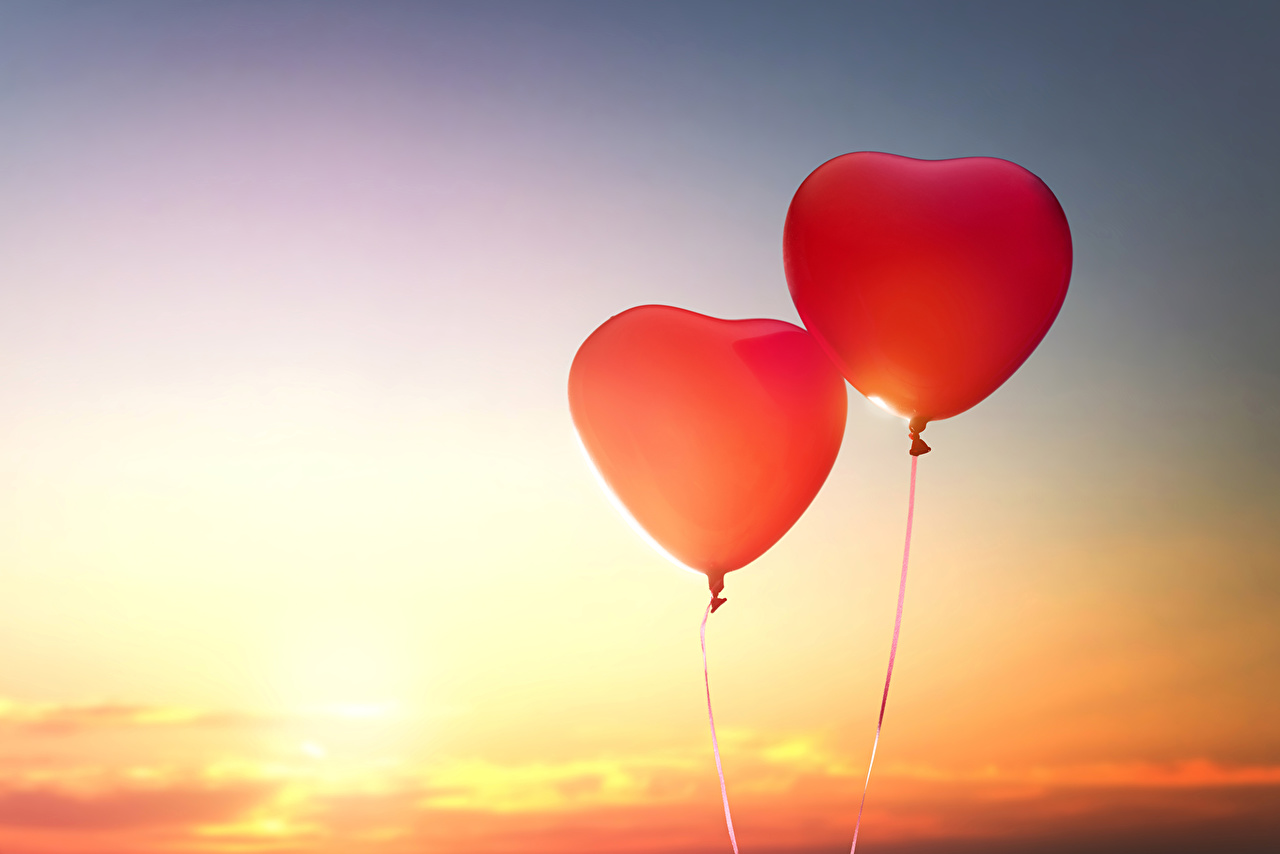 壁紙、バレンタインデー、空、ハート、2 二つ、風船、ダウンロード、写真