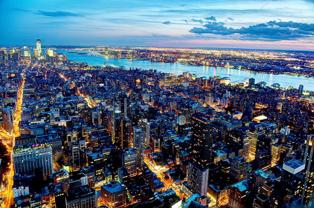 Desktop Wallpapers New York City USA Night From above Houses Cities night time Building