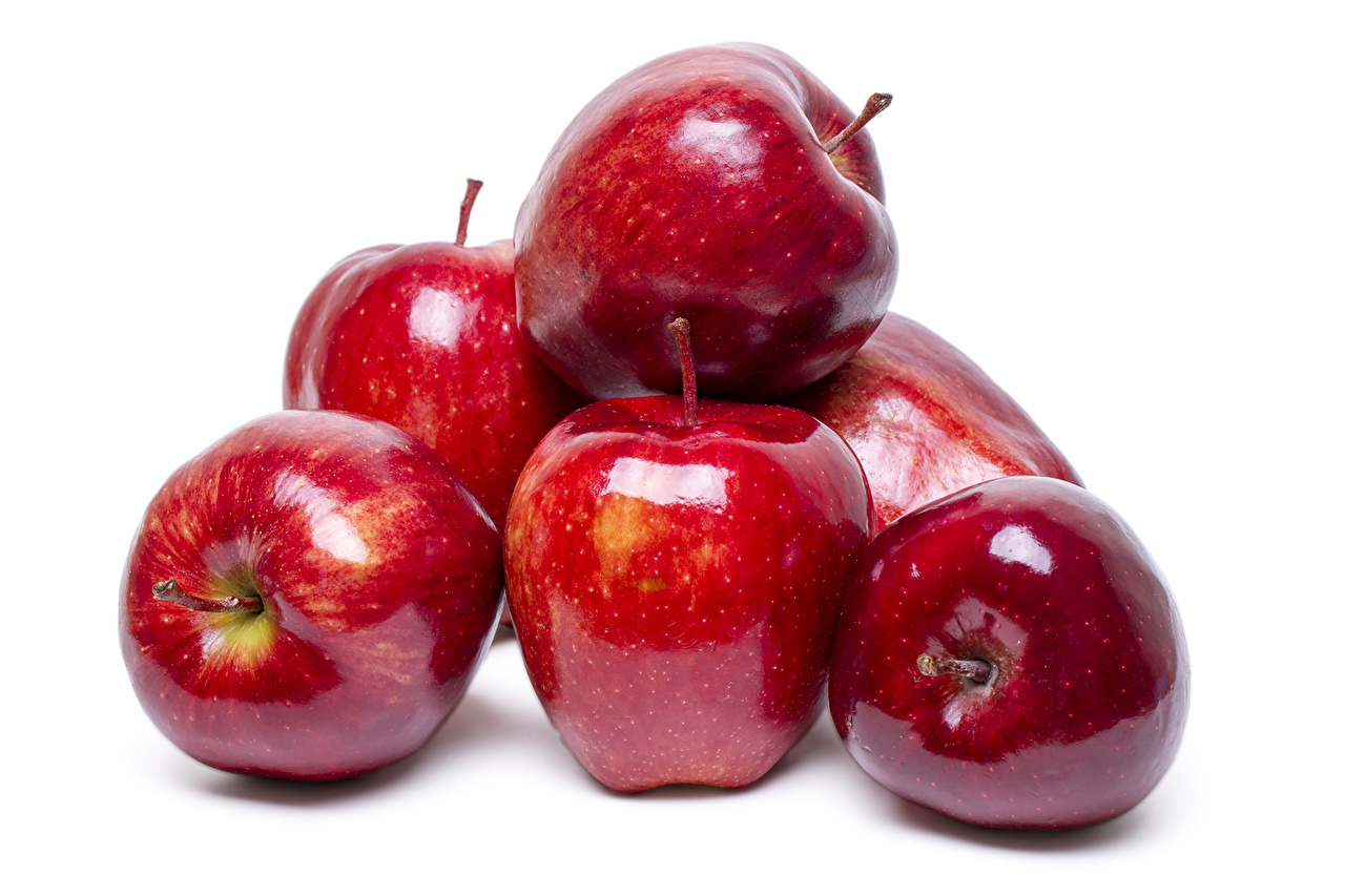 Photos Red Apples Food Closeup White background