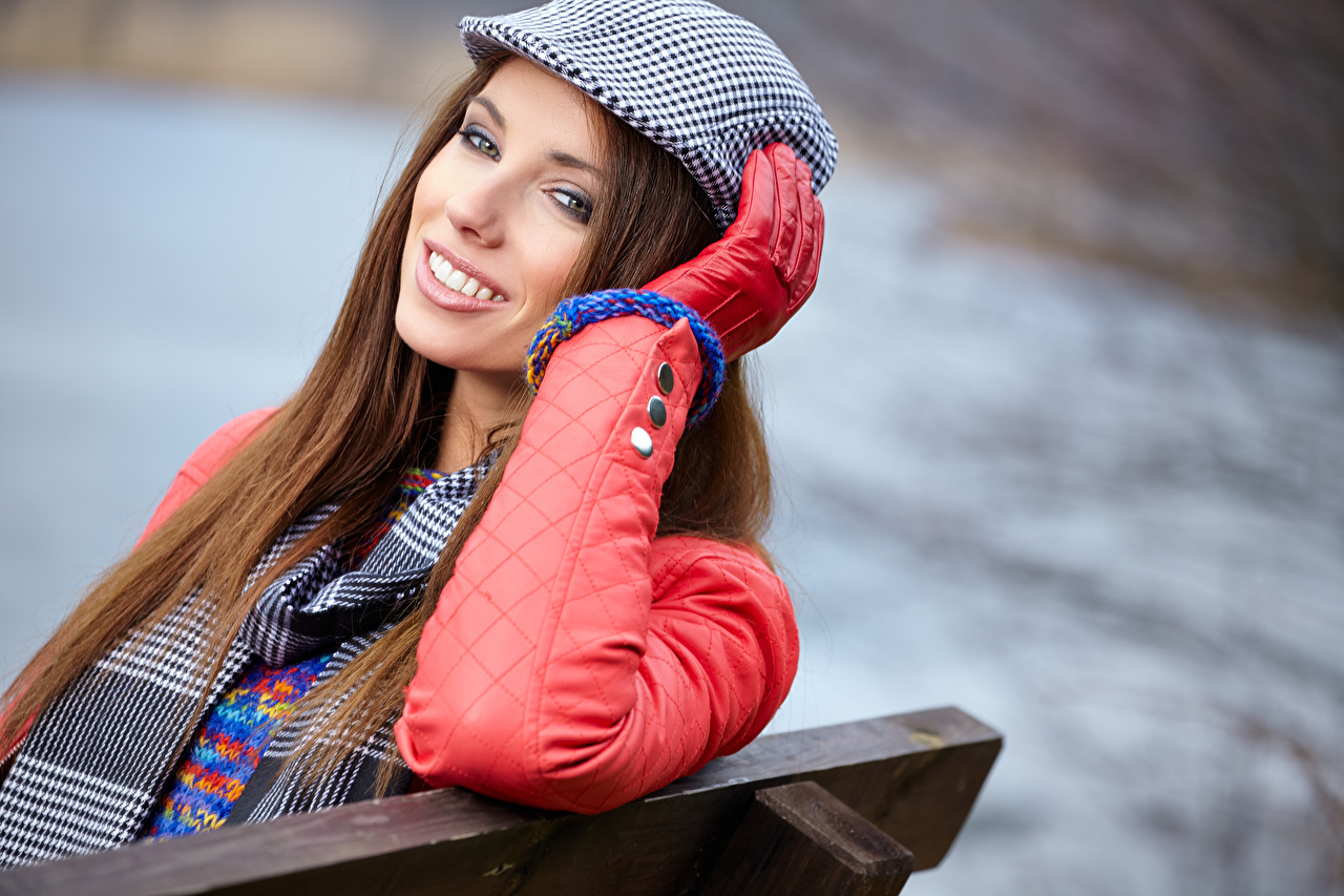 Photos Brown haired Smile Glove Girls Glance female young woman Staring