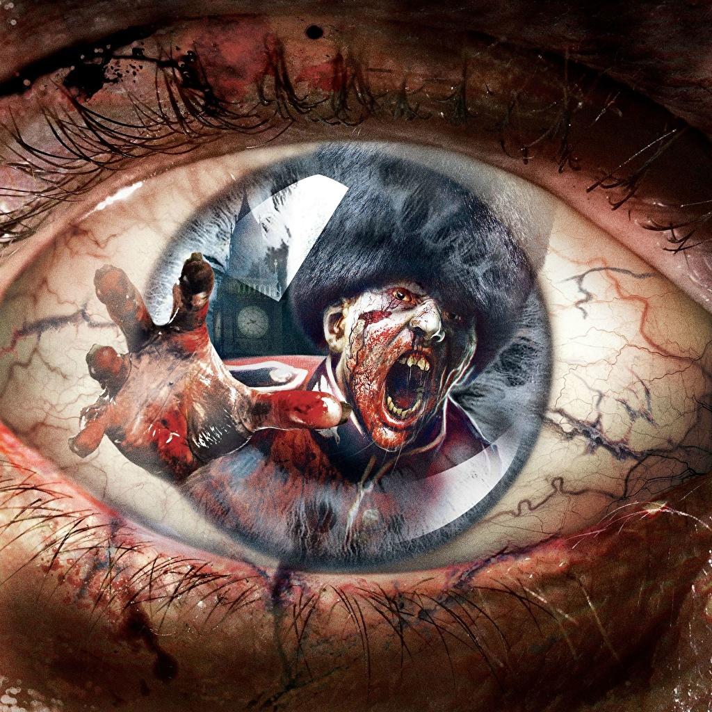 Desktop Wallpapers Zombie Eyes ZombiU Fantasy Games reflected Macro photography Macro vdeo game Reflection