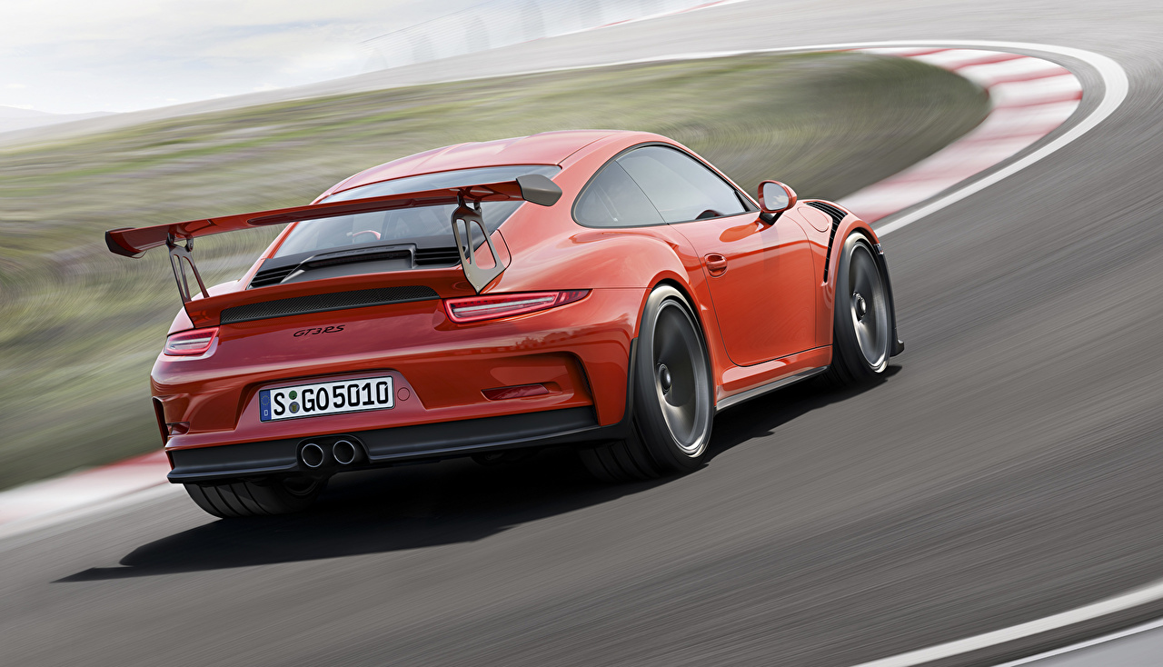 Photo Porsche 2015 911 GT3 RS 991 Orange Motion auto Back view moving riding driving at speed Cars automobile