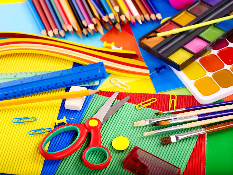 Achtergrond Verf Schrijfbehoeften Potlood Penseel potloden kleurpotloden