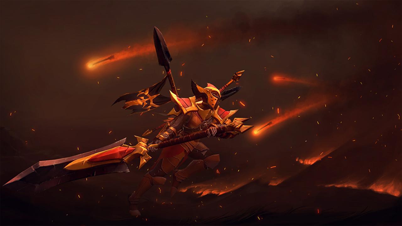 Bilder von DOTA 2 Legion Commander Schwert Rüstung Helm Krieger computerspiel Spiele