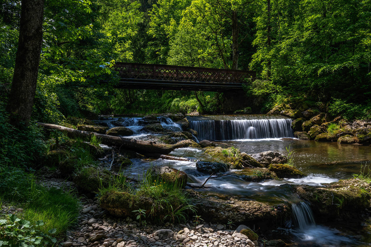 Photos Bavaria Germany Nature bridge Waterfalls forest Moss Rivers Stones Bridges Forests river stone