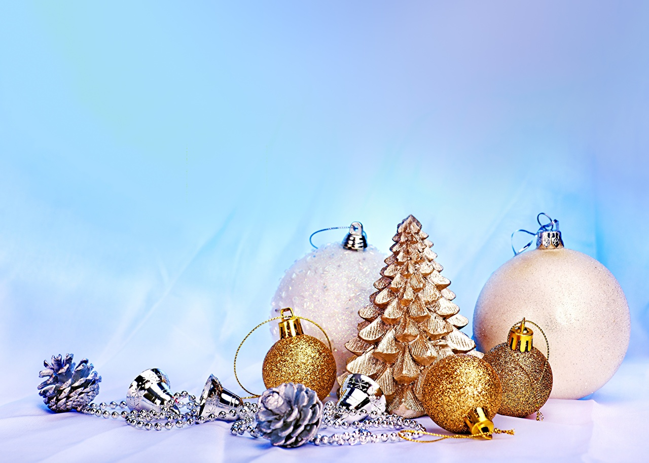 Pictures Christmas Gold color Balls Pine cone Holidays New year Conifer cone