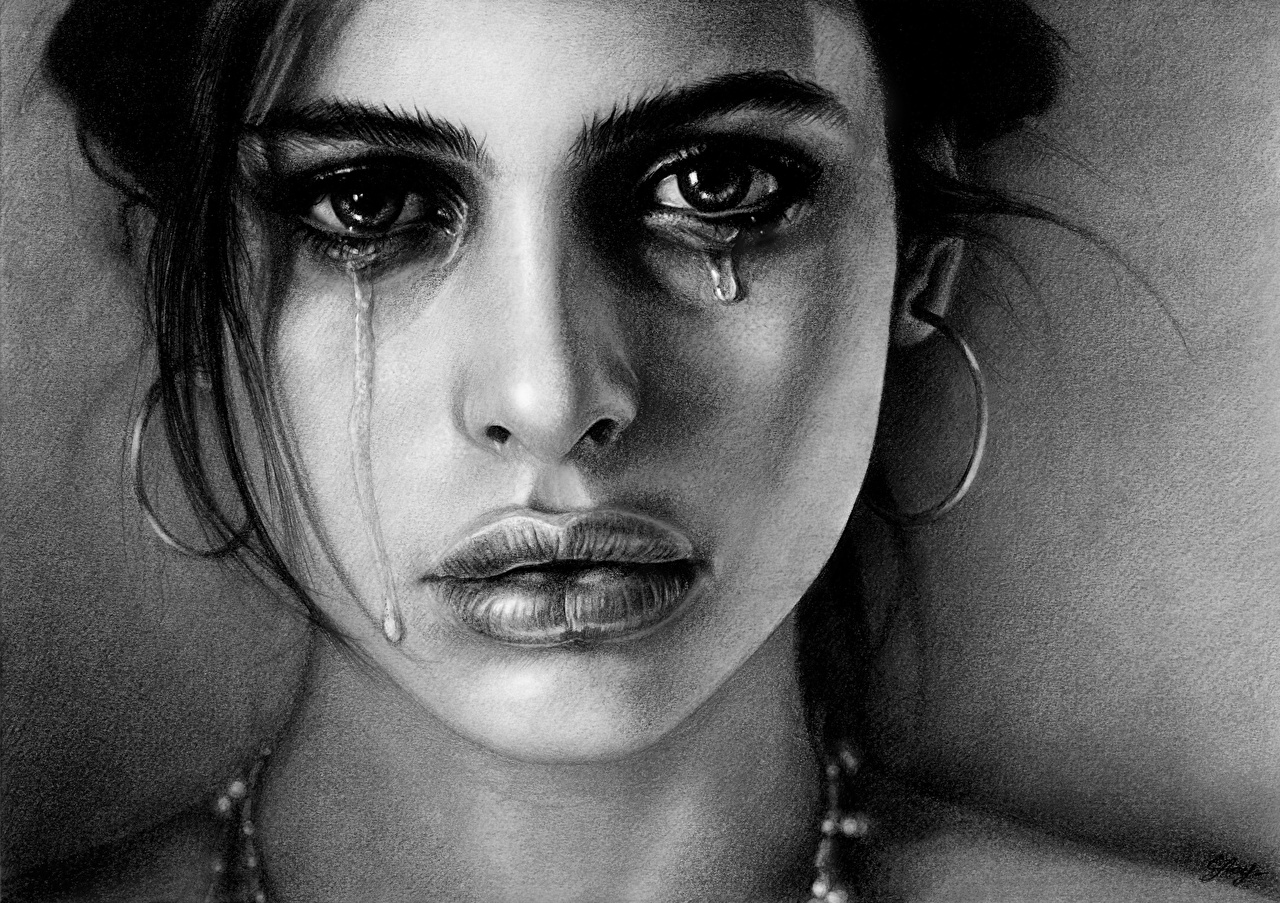 Wallpaper S Tears Face Sadness Lips Earrings Black And White Glance Painting Art Gloomy Staring