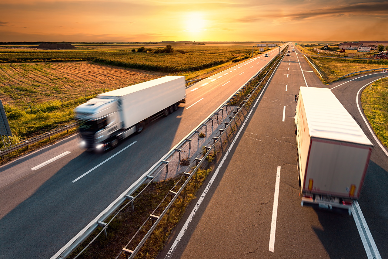 Wallpaper Trucks White Roads Motion sunrise and sunset Cars lorry riding moving driving at speed Sunrises and sunsets auto automobile