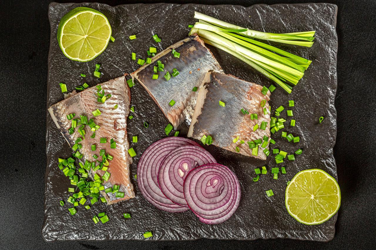 Photos Scallion Lime Onion Fish - Food Food Cutting board salad onions