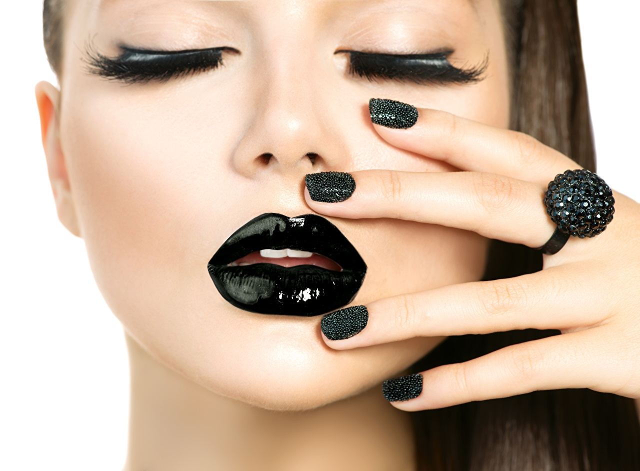 Image Model Manicure Makeup Face Girls Black Lips Fingers Modelling female young woman