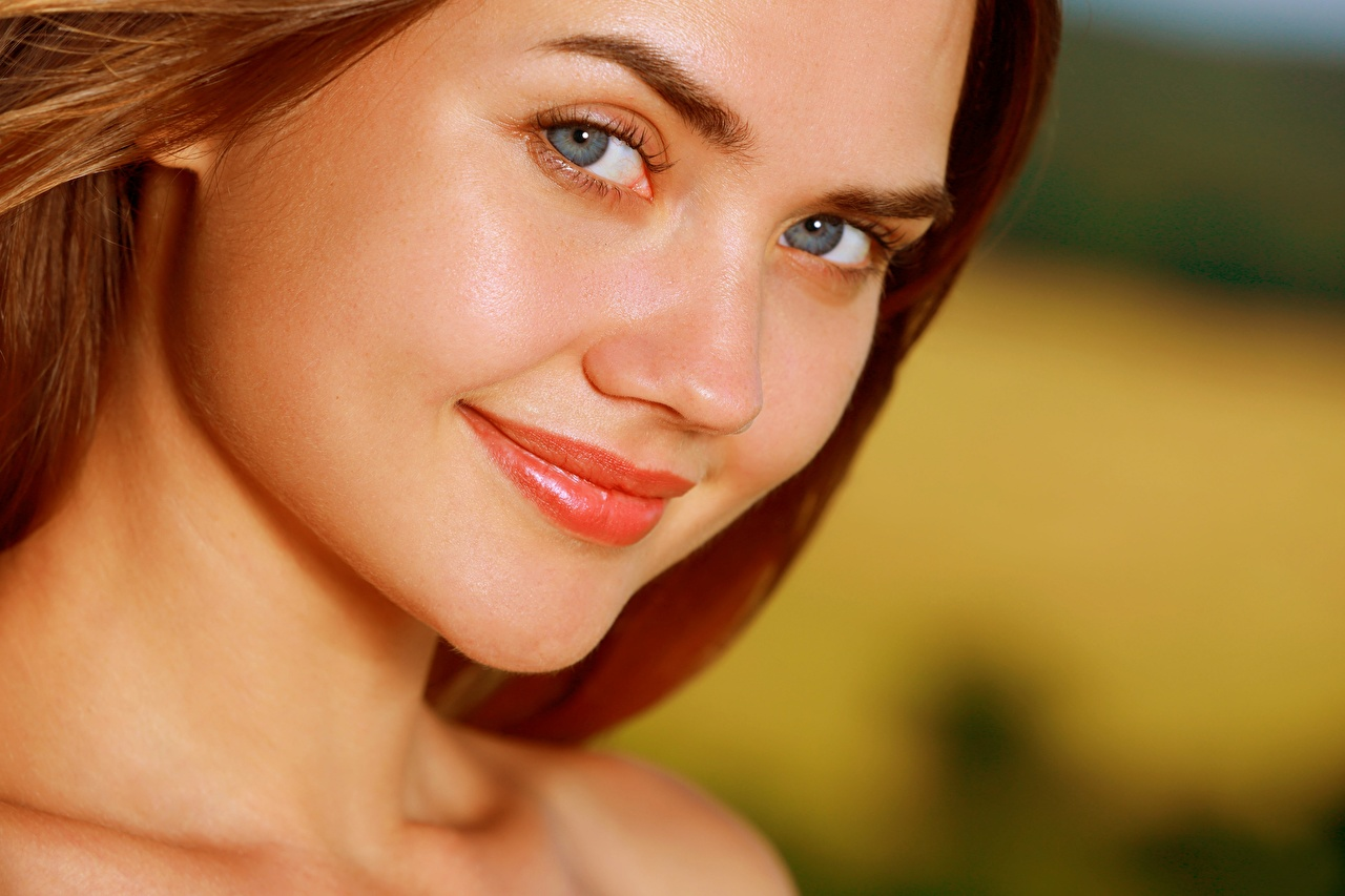 Image Polina Kadynskaya, Georgia Brown haired Smile Face female Glance Girls young woman Staring