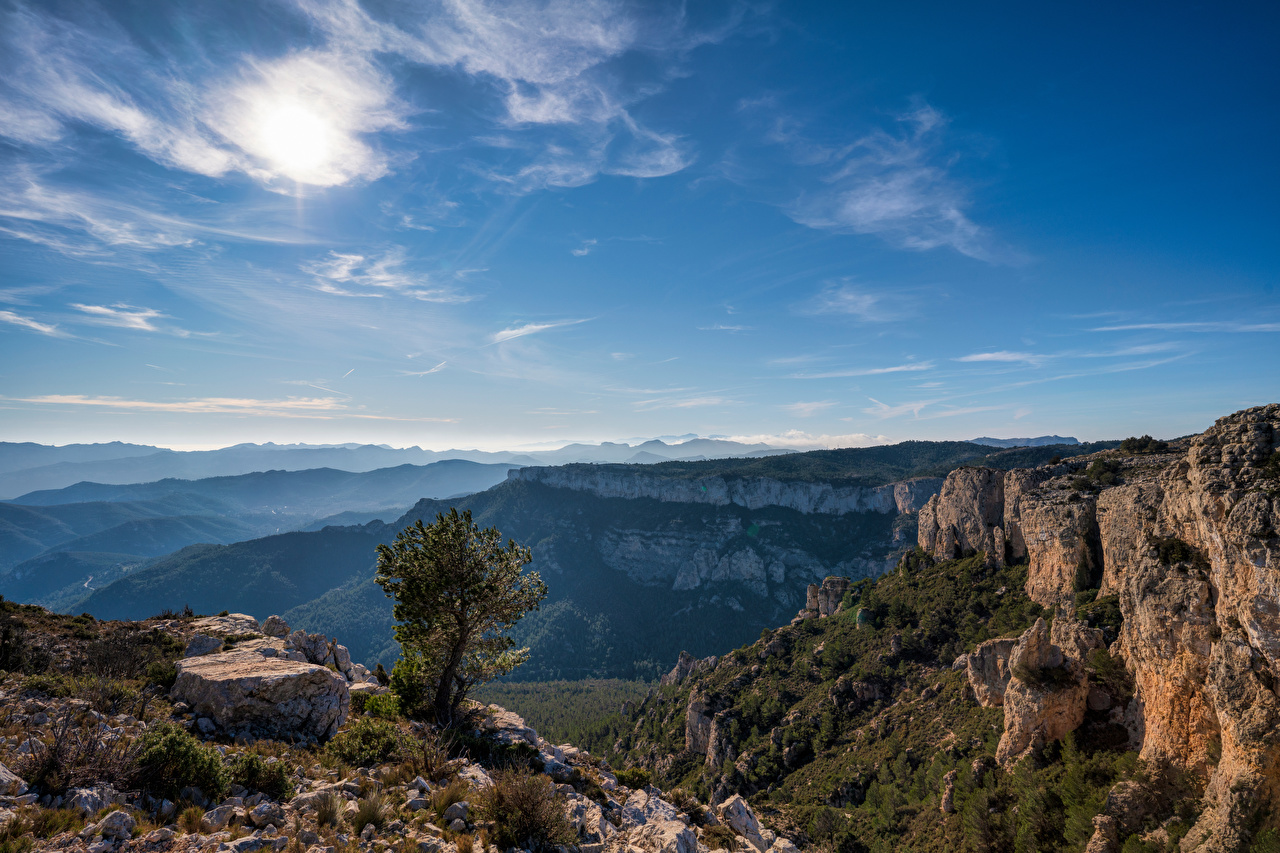 Pictures Spain Catalonia Crag Nature Mountains Sky Rock Cliff mountain