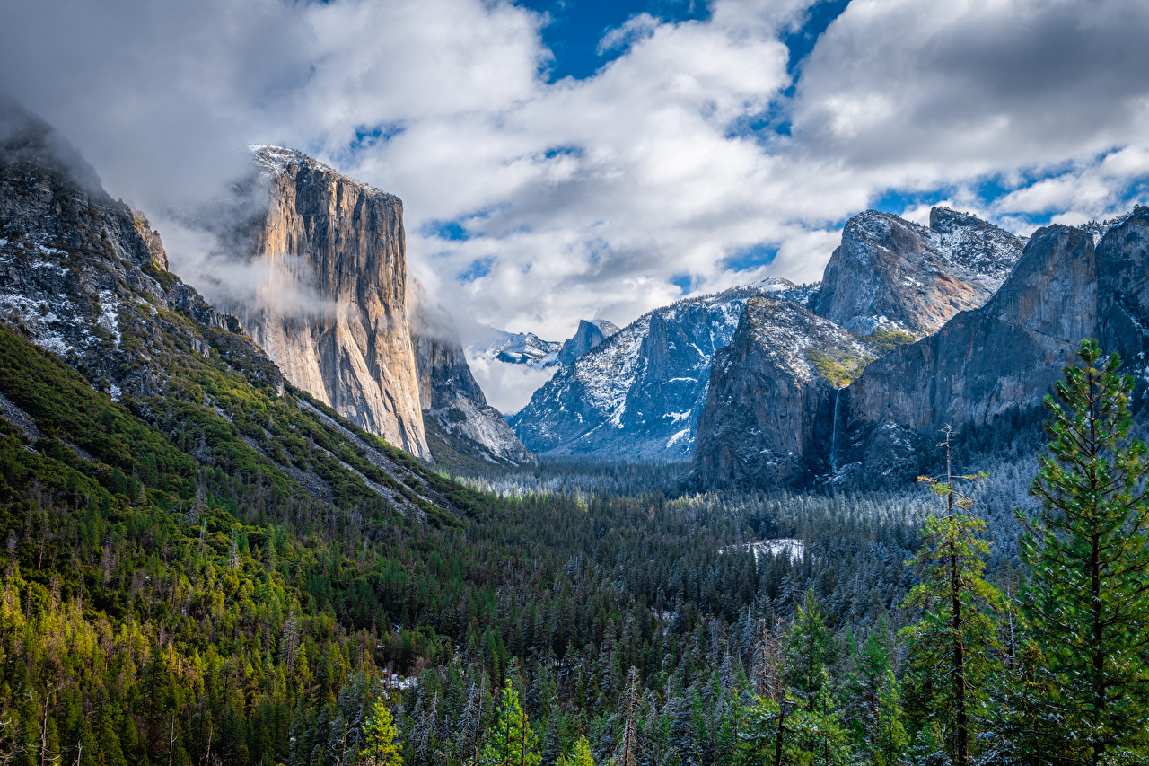Desktop Wallpapers Yosemite California USA Cliff Nature Mountains Parks Forests Scenery Clouds Rock Crag mountain park forest landscape photography