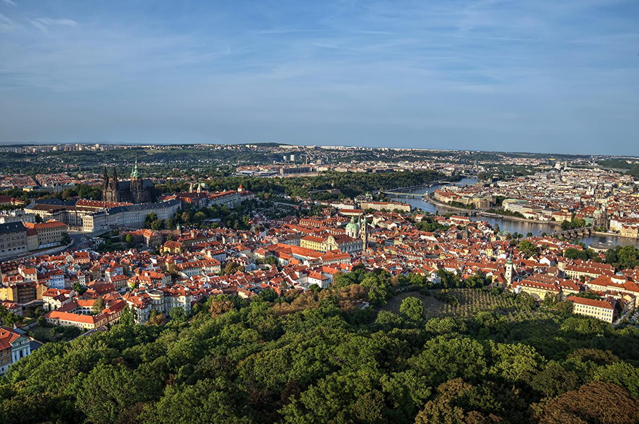Photo Prague Czech Republic Horizon From above Cities