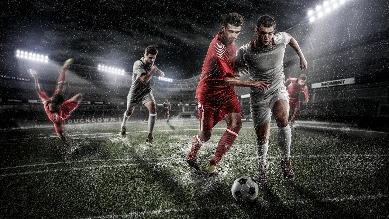 Foto Mann Sport Fußball Ball Rasen Uniform