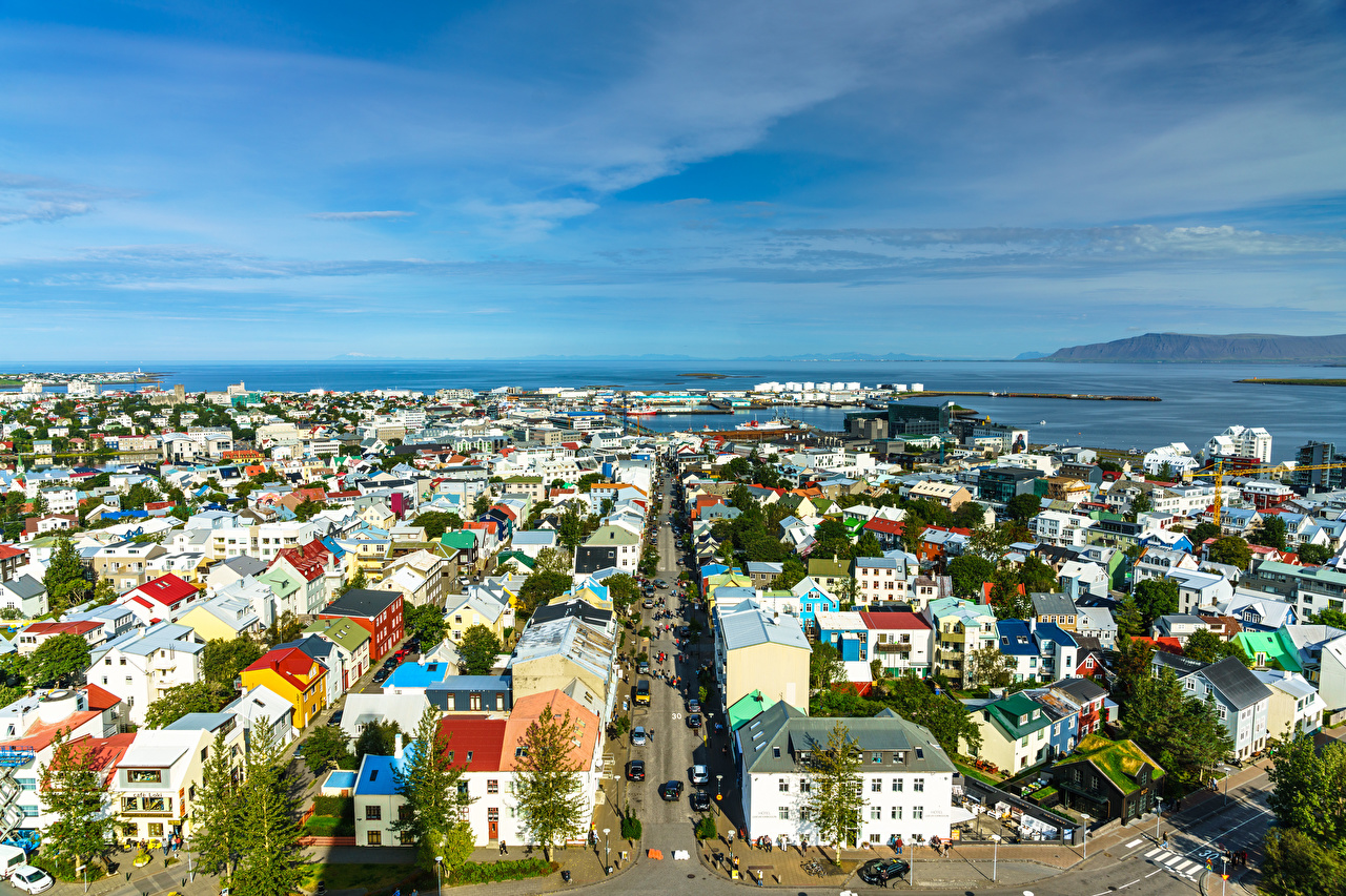 Photos Iceland Reykjavik Sea Street Horizon From above Houses Cities Building