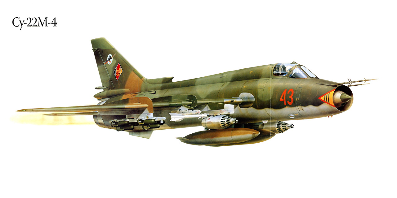 Image Fighter aircraft Airplane Su-22M-4 Painting Art Aviation Fighter Airplane
