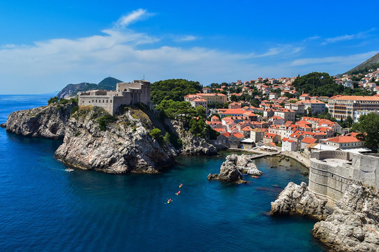 Wallpaper Dubrovnik Croatia Sea Rock Coast Houses Cities Crag Cliff Building