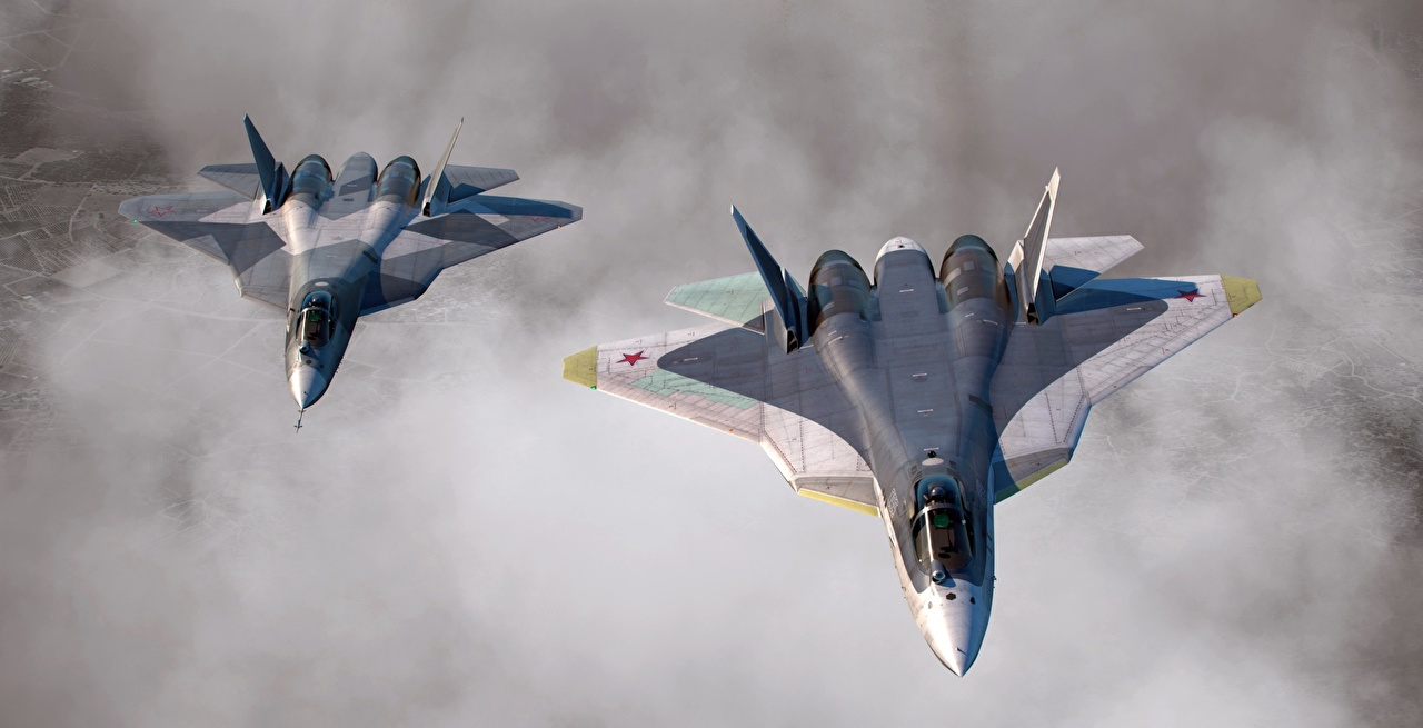 Picture Fighter Airplane Airplane Russian Su-57 Two Flight Aviation Fighter aircraft 2