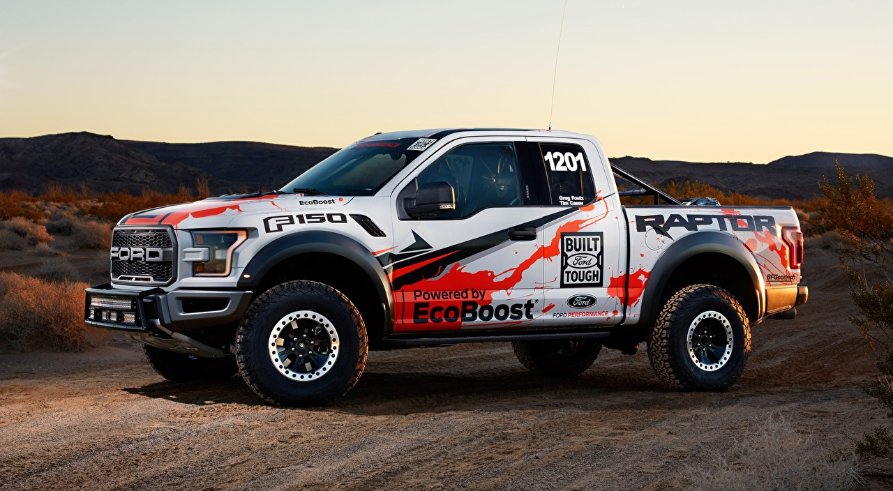 Photo Ford F-150, Raptor, Race Truck, 2016 Pickup Side automobile auto Cars