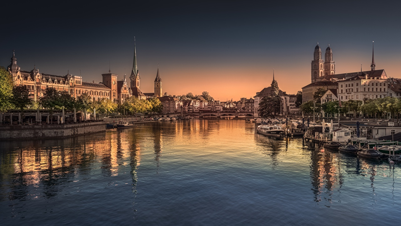 Pictures Zurich Switzerland Limmat river bridge Riverboat Rivers Evening Cities Bridges