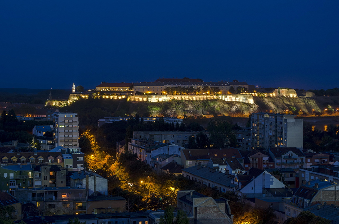 Desktop Wallpapers Serbia Novi Sad night time Houses Cities Night Building
