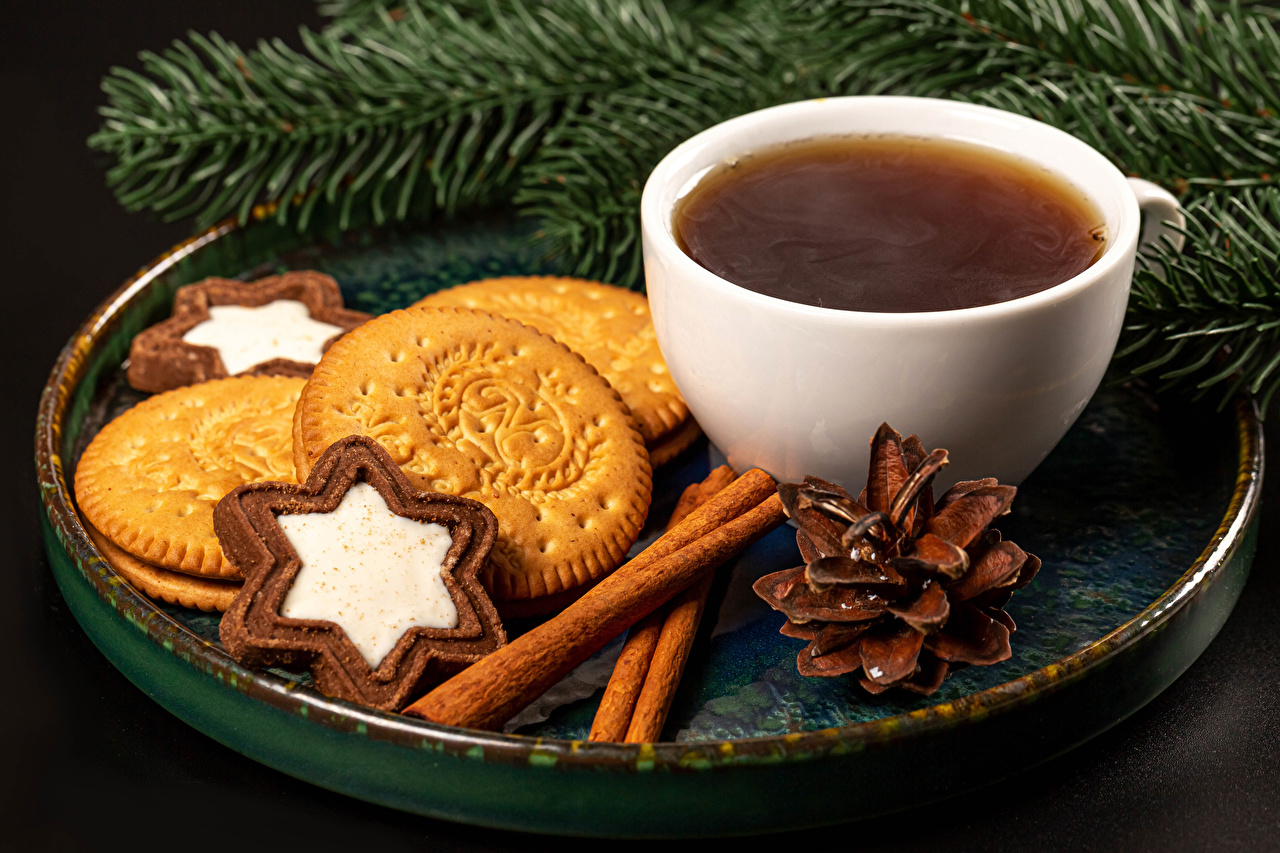 Picture New year Tea Cinnamon Cup Food Cookies Branches Pine cone Gray background Christmas Conifer cone