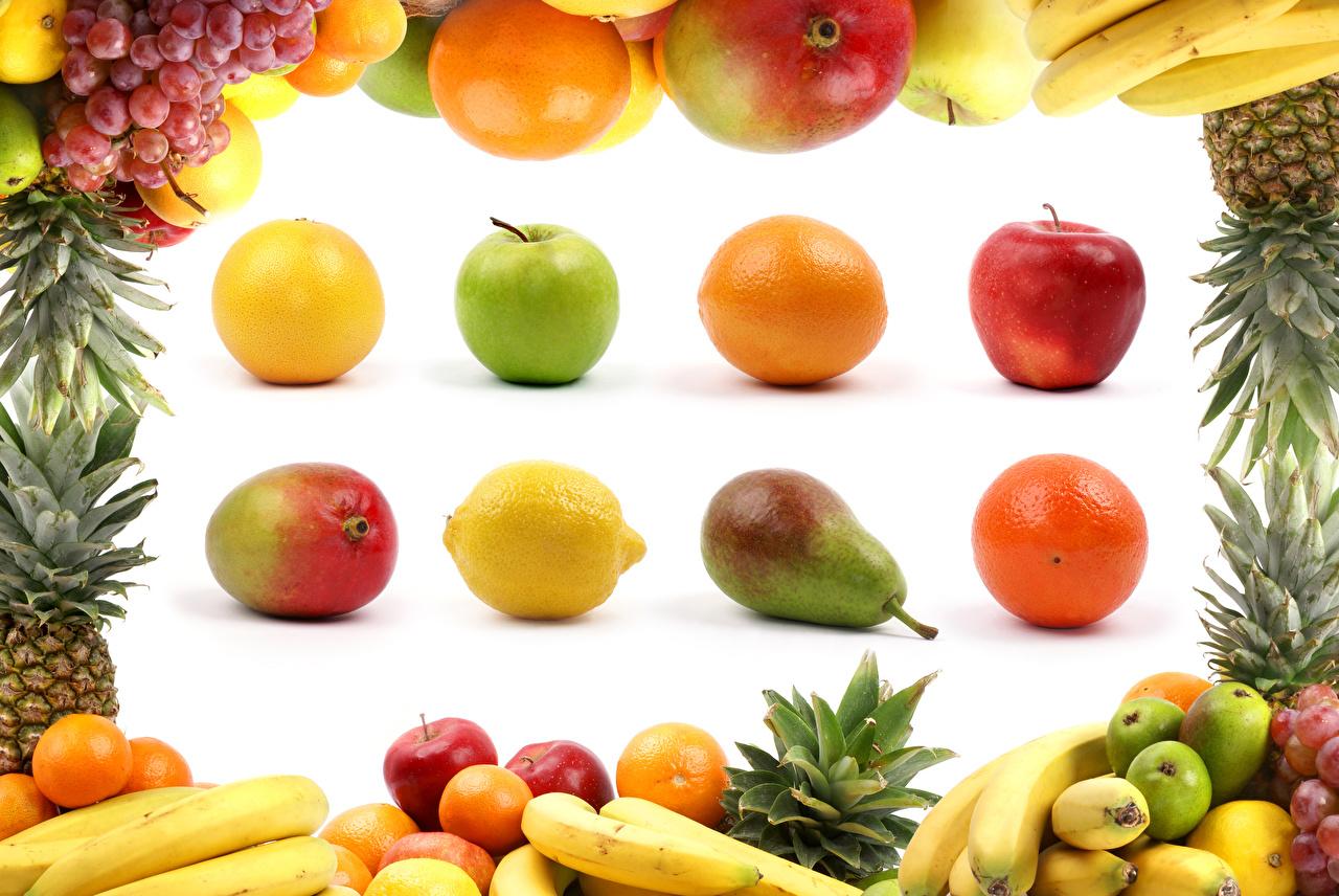 Wallpaper Orange fruit Pears Grapes Lemons Apples Bananas Avocado Food Fruit White background