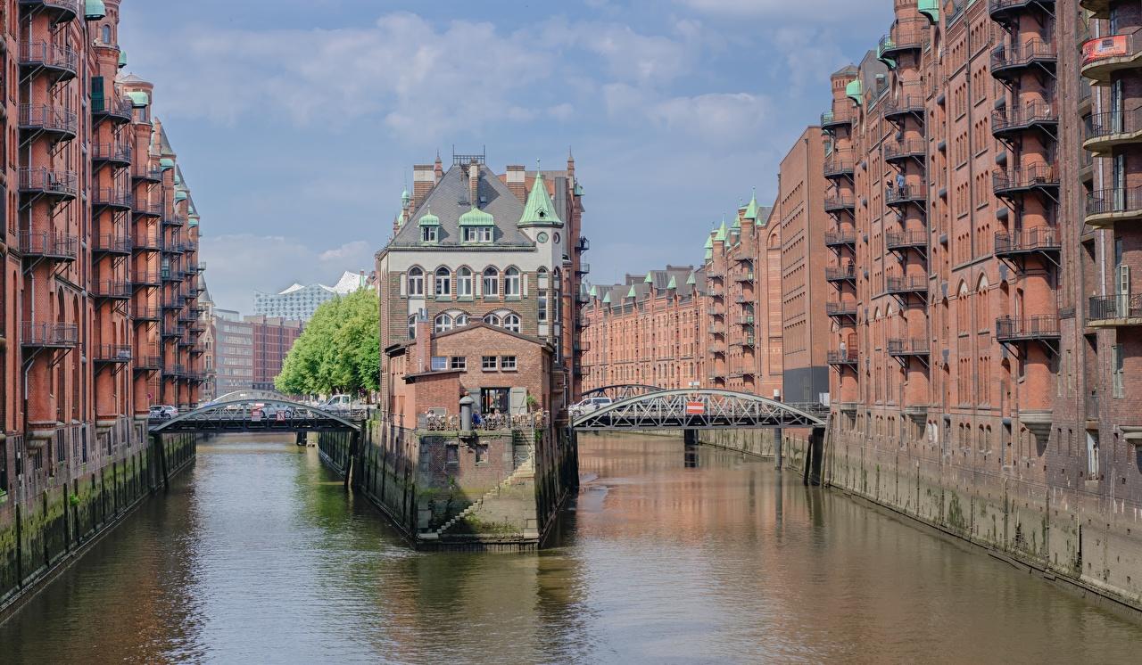 Photos Hamburg Germany Speicherstadt, Elba Canal bridge Houses Cities Bridges Building