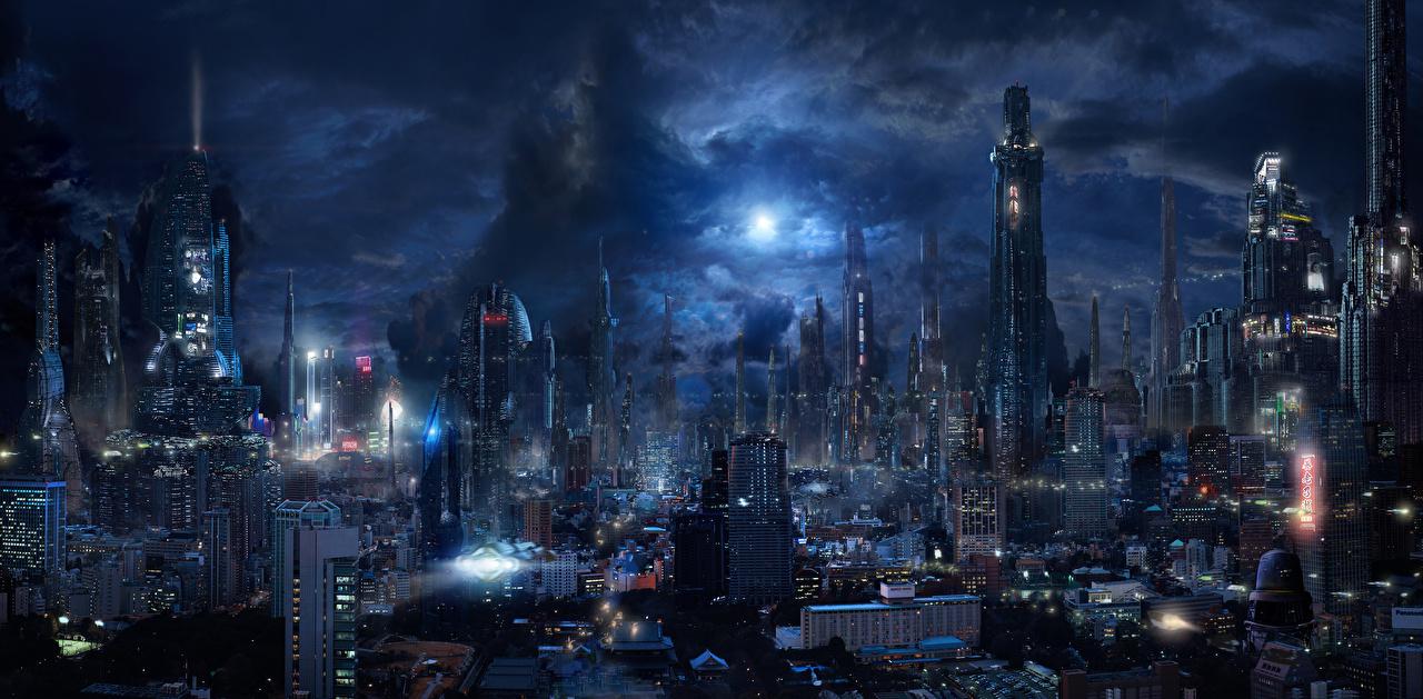 壁紙 超高層建築物 住宅 幻想的な世界 メガロポリス 夜