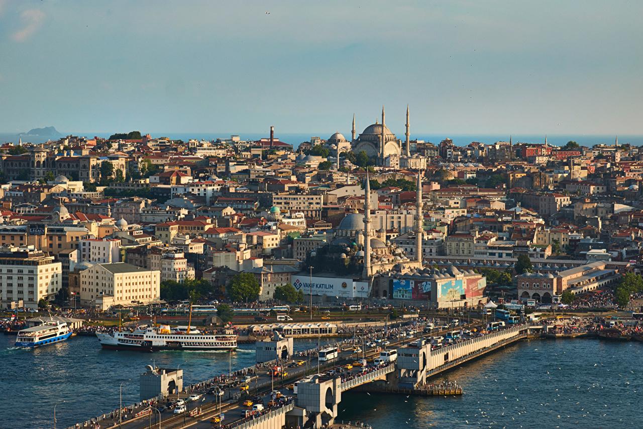 Bilder Istanbul Moské Turkiet bro Hus stad Broar byggnad Städer byggnader