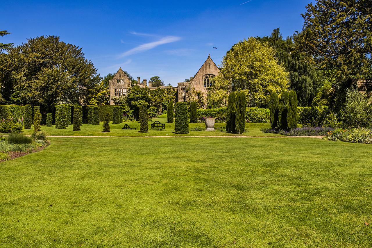Pictures United Kingdom Nymans Gardens Nature Parks Lawn Shrubs Design park Bush