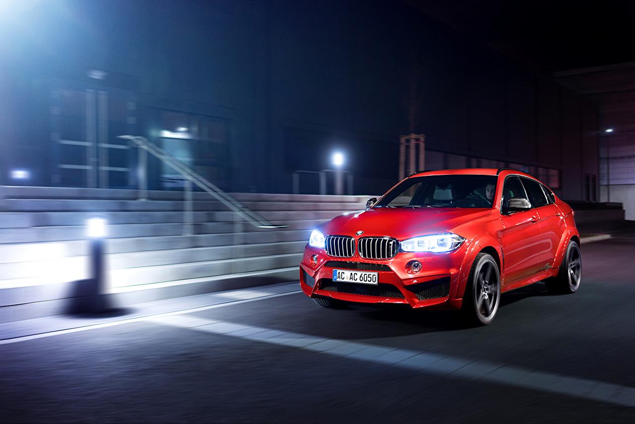 Photos Tuning 2016 AC Schnitzer BMW X6 FALCON Red Metallic night time automobile auto Cars Night