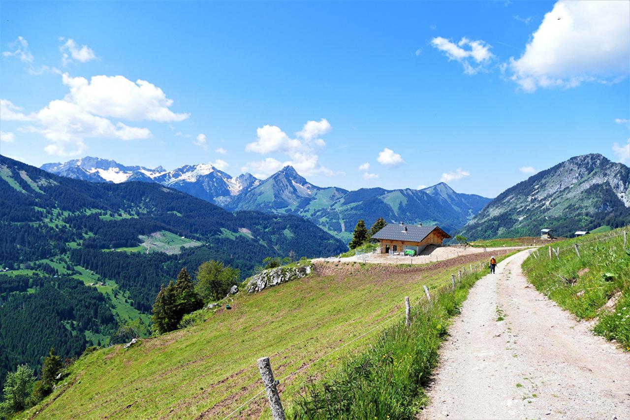 Fotos von Alpen Frankreich Upper Savoy Berg Natur Wege Wolke Gebirge Straße