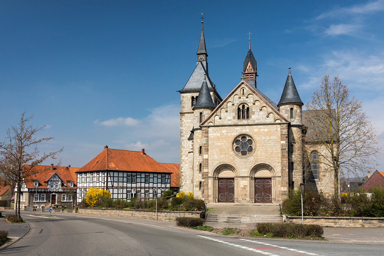 Images Church Germany Tower Ossendorf Street Cities Building towers Houses