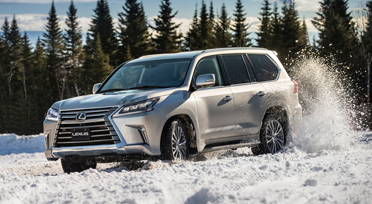 Picture Lexus SUV LX 570, CA-spec, 2016 Silver color Snow riding automobile Sport utility vehicle moving Motion driving at speed Cars auto