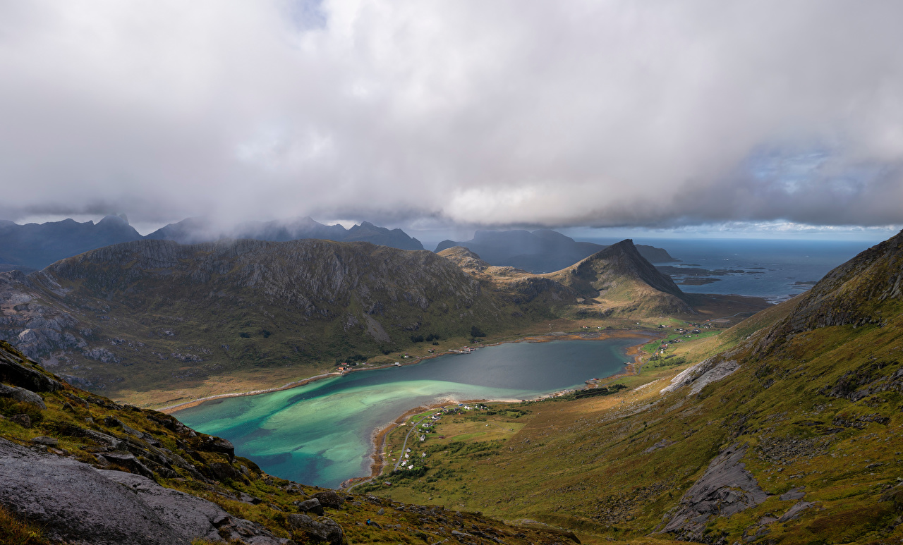 Noruega Lofoten Montanhas Skjelfjorden Nuvem Fiorde montanha Naturaleza