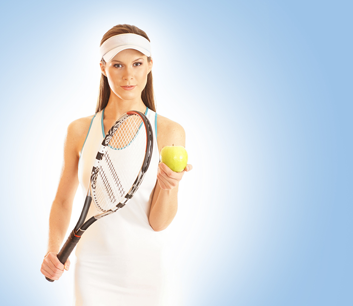 Achtergronden bureaublad Sport Jonge vrouwen Tennis Een bal Gekleurde achtergrond atletisch jonge vrouw