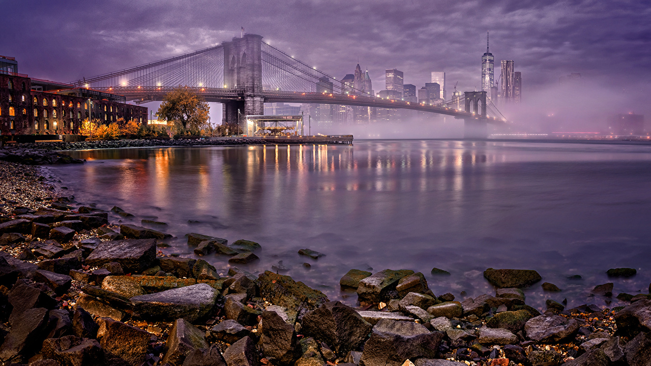 Images Manhattan New York City USA Bridges Coast Stones night time Houses Cities bridge stone Night Building