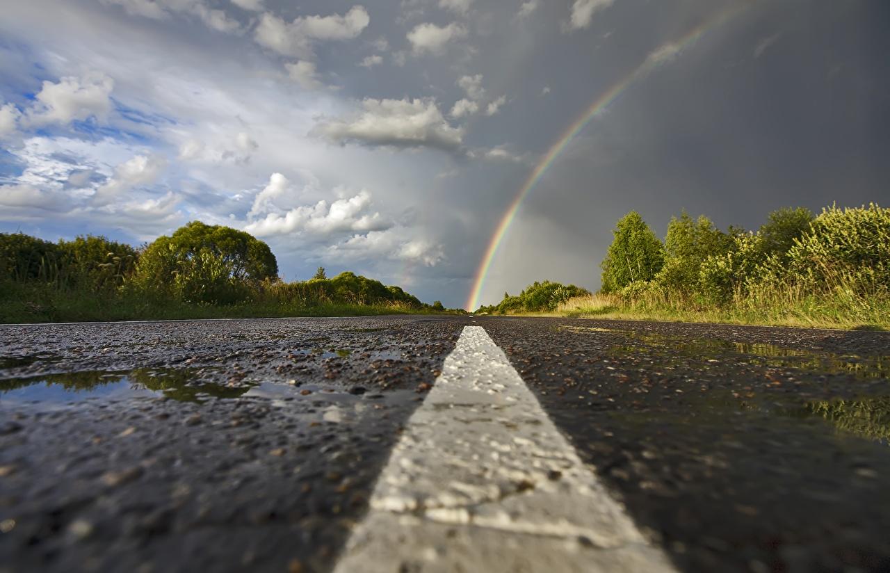 Fotos Natur Regenbogen Asphalt Wolke