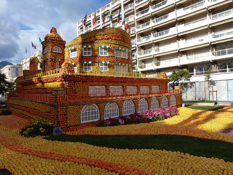 Wallpaper France Lemon Festival Menton Orange fruit Parks Lemons Cities Citrus Building Design Houses