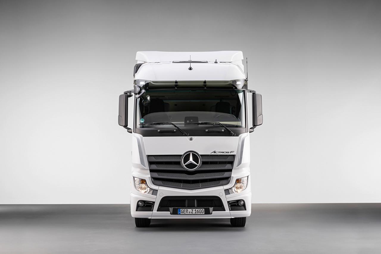 Images lorry Mercedes-Benz White Front Metallic automobile Trucks Cars auto