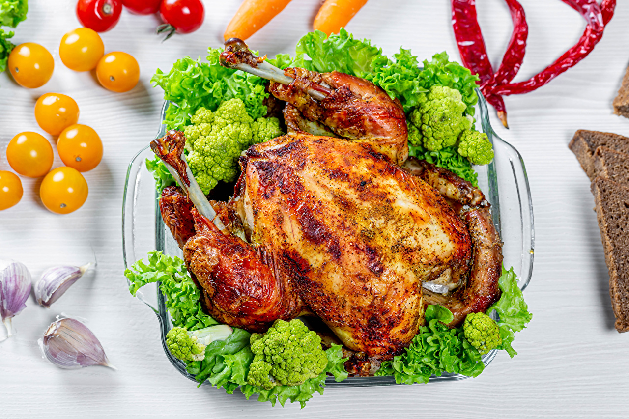 Picture Broccoli Roast Chicken Food